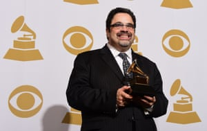 Mexican artist Arturo O'Farrill holds his Grammy, with The Offense Of The Drum picking up best latin jazz album.