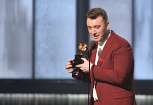 Winner for best pop vocal album Sam Smith on stage at the Grammys.