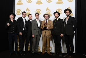 Members of the Old Crow Medicine Show band hold the award for best folk album, winning with their album Remedy.