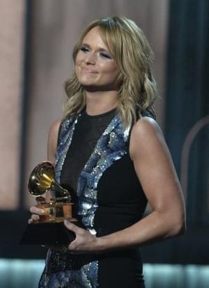 Miranda Lambert onstage winning best country album for Platinum.