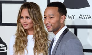 Chrissy Teigen and John Legend arrive for the 57th annual Grammy Awards