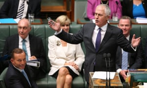 Minister for communications Malcolm Turnbull and Prime Minister Tony Abbott during question time in the House of Representatives this afternoon, Monday  9th February 2015.