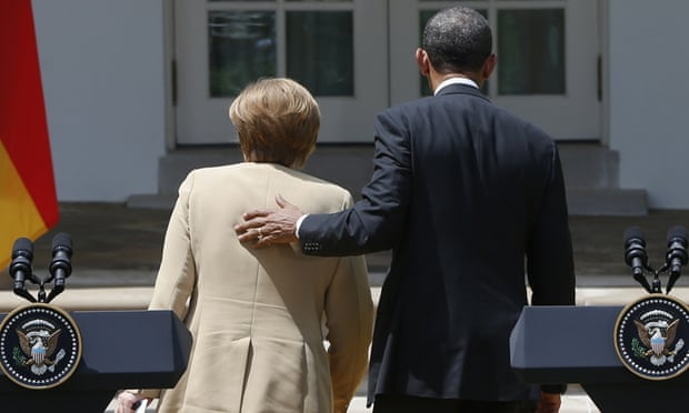 Angela Merkel and Barack Obama pictured after a 2014 press conference.