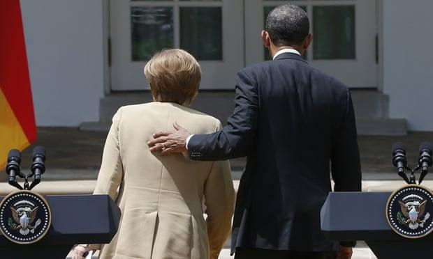 Angela Merkel and Barack Obama pictured after a 2014 press conference.