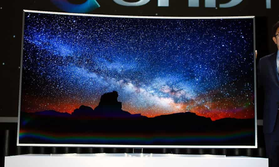 A Samsung Electronics SUHD smart TV at its launch event in Seoul, February 5, 2015.