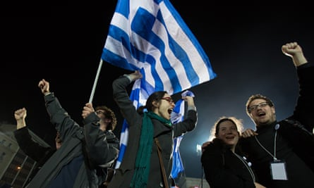 Supporters cheer Syriza's victory in the Greek general election