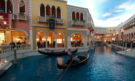 The Venetian hotel, complete with stripe-shirted gondoliers.
