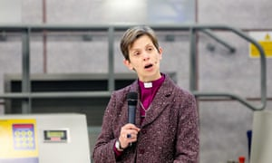 Rev Libby Lane at the anti-trafficking campaign at Manchester airport.