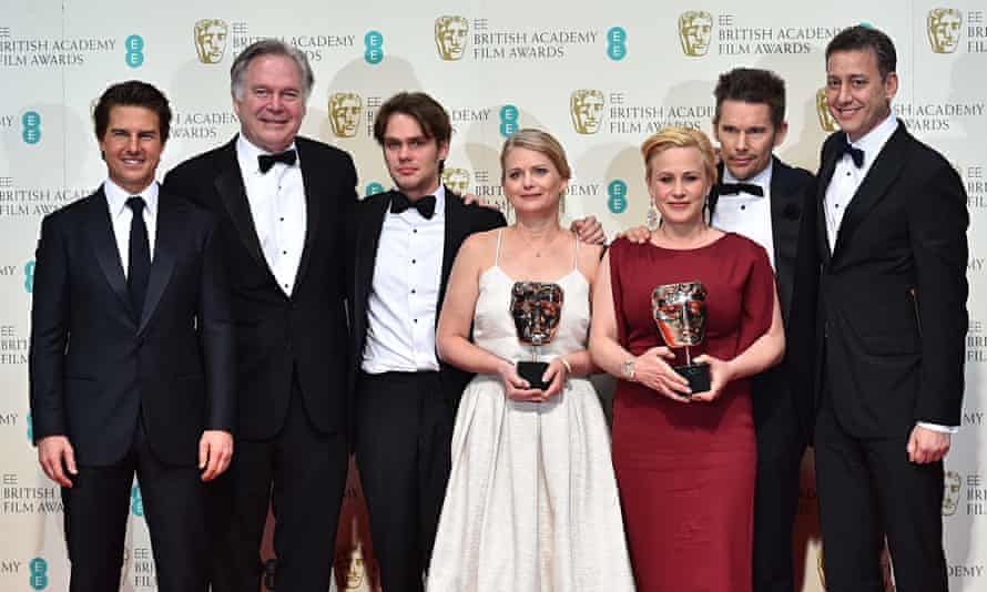 Boyhood producer Cathleen Sutherland with other winners at the 2015 Baftas.