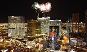 Fireworks mark the opening of the Aria hotel-casino, centrepiece of the $8.5 billion CityCenter project, in 2009.