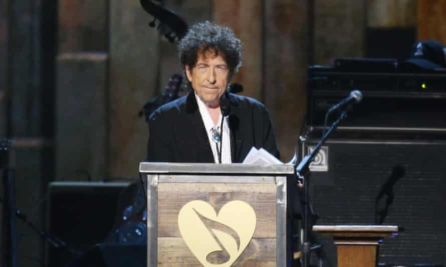 Bob Dylan speaking during the 2015 MusiCares Person of the Year gala.