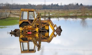 Flooded farmland surrounding Burrowbridge in Somerset, January 29, 2014. Farmers, politicians and church leaders are demanding the Government takes immediate action to alleviate the flooding that has left a trail of devastation on the Somerset Levels.