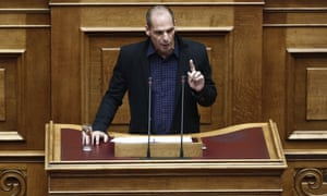 Finance Minister Yanis Varoufakis speaks during a Parliament session in Athens, Monday, Feb. 9, 2015.