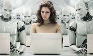 Business woman surrounded by robots.