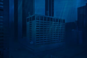 City buildings are unrecognisable in the dark water