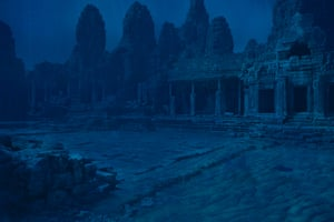 The ruins of Angkor Wat in Cambodia are engulfed in the sea water
