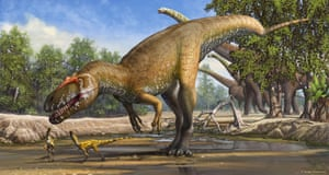 An artist's impression of a Torvosaurus gurneyi released after fossils of the dinosaur were found in Portugal in 2014.