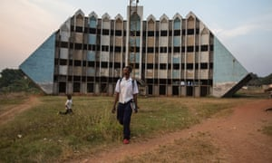 Gbadolite: the Water Ministry building never finished and now used as a school.