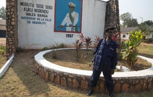 Gbadolite: a mural of former President Mobutu outside the mayor's office.