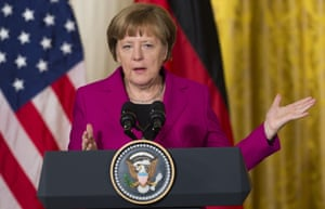 German Chancellor Angela Merkel speaks during a joint press conference with US President Barack Obama in the East Room of the White House in Washington, DC, February 9, 2015.