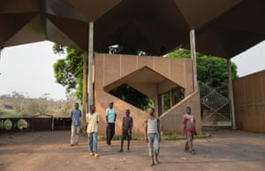 Gbadolite: the main gates and entrance to the private palace of President Mobutu.