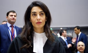 Amal Clooney at a hearing not related to the Northern Ireland case in the European court of human rights in Strasbourg, France, in January.