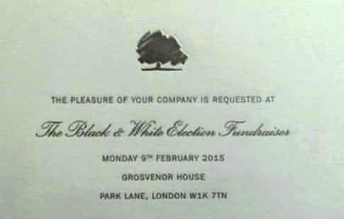 Conservative party Black and White election fundraiser 2015 invitation card