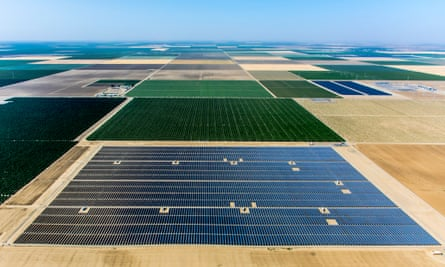 A 20 mw solar farm constructed on land in California's central valley – the array is built on former agricultural land made unusable by rising salinity.