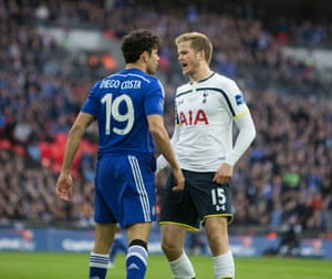 Diego Costa in an early angry exchange with Eric Dier after a clean tackle in the box.