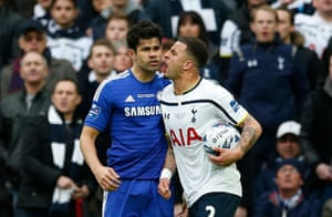 Diego Costa clashes and Kyle Walker.