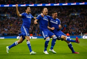 John Terry celebrates scoring the opening goal with Diego Costa and Gary Cahill.