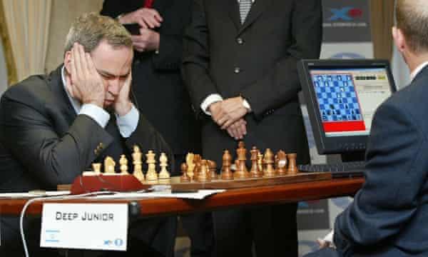 Garry Kasparov playing the computer Deep Blue Junior in New York, 2003. AP Photo/Stuart Ramson)