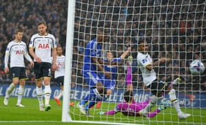 The ball hits the back of the Tottenham net as Diego's Costa's deflected shot gives Chelsea a 2-0 lead.