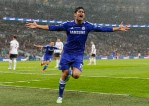 Diego Costa celebrates and claims the second goal.