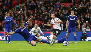 Harry Kane shoots at goal under pressure from John Terry.