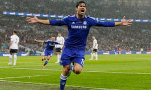 Diego Costa celebrates Chelsea's second goal.