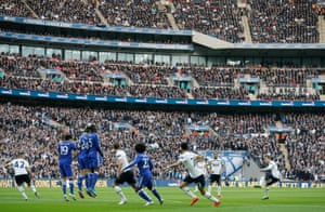 Christian Eriksen hits the bar with a free-kick.