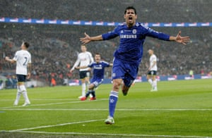 Diego Costa celebrates scoring the 2nd goal.