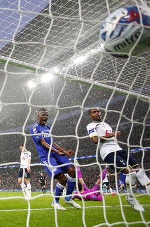 Ramires and Danny Rose watch Costa's deflected shot hit the net.