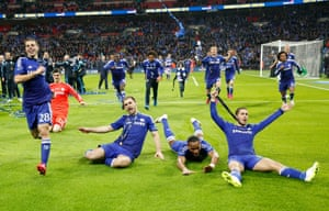 Chelsea players celebrate their win.