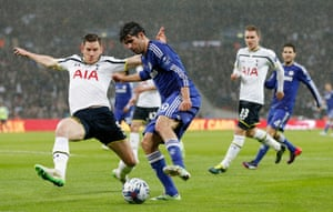 Costa takes on Vertonghen.