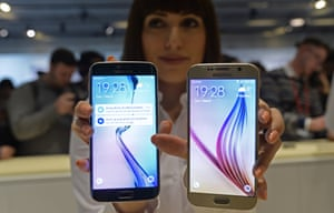 The new Galaxy S6, right, and S6 Edge are displayed during Samsung Galaxy Unpacked 2015