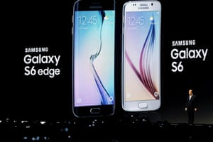 Samsung's president JK Shin presents the Samsung Galaxy S6 and S6 Edge during the Mobile World Congress convention in Barcelona