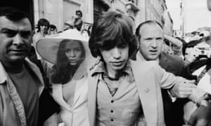 Mick and Bianca Jagger outside the town hall in St Tropez after their wedding, 14th May 1971.