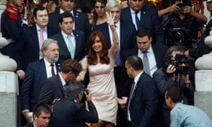 Cristina Fernandez de Kirchner leaves the opening session of Congress on Sunday.