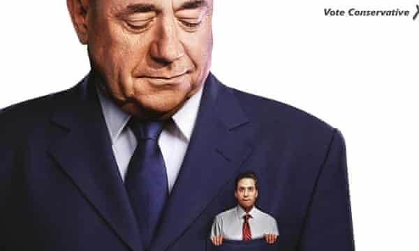 Conservative Party poster featuring Ed Miliband in the top pocket of Alex Salmond.