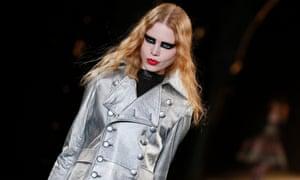 All that glitters: a model on the Saint Laurent catwalk