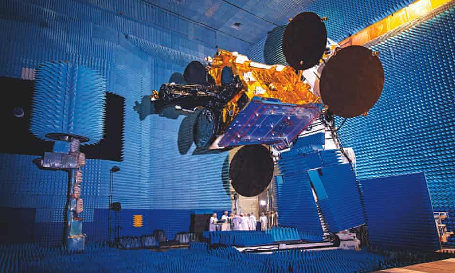 Satellite SES-6 in a giant testing bay inToulouse