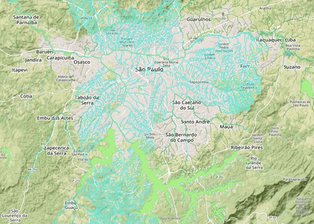 Mapping the rivers of São Paulo. The network of buried rivers and streams totals more than 3,000 km.