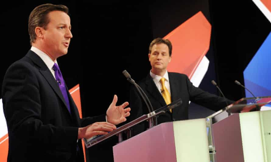 File photo dated 22/04/10 of Conservative leader David Cameron (left) speaking as Lib Dem leader Nick Clegg (centre) and Labour leader Gordon Brown look on during a live leaders' election debate, as the chances of televised political debates taking place during the general election campaign appear no more certain after proposals for a revised format sparked fresh complaints from excluded parties